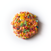 Cheesecake cookie covered in fruity pebble cereal