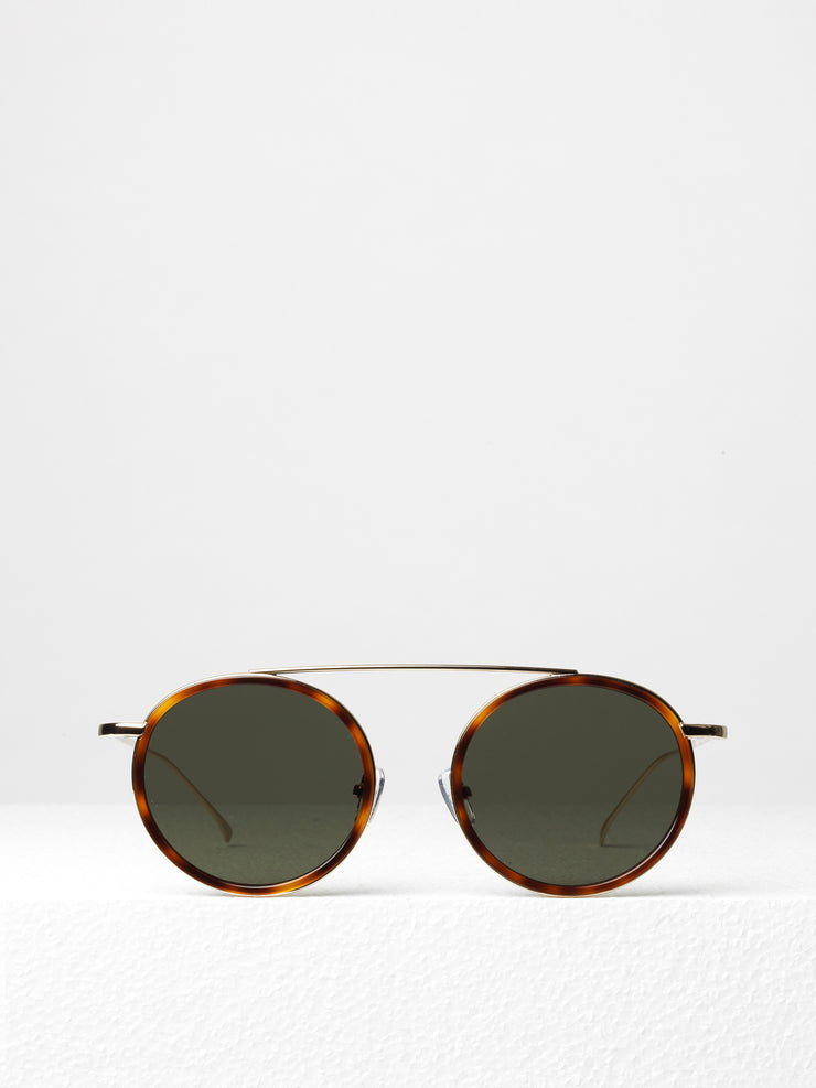 Illesteva / Kingston / Havana and Gold With Green Flat Lenses - I Visionari