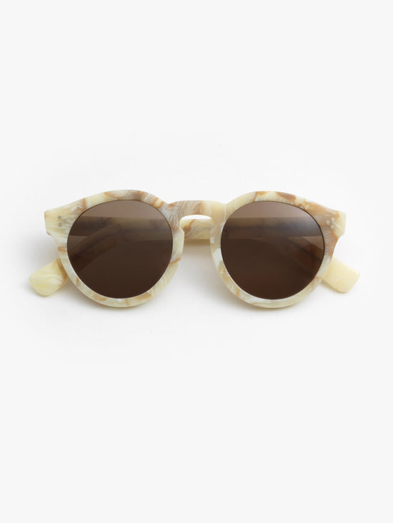 5833c1960 Illesteva / Leonard II / Cream Marble With Brown Lenses