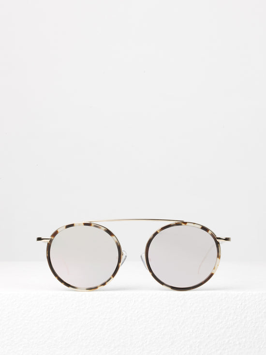 3ed6364b4 Illesteva / Kingston / White Tortoise / Gold With Rose Flat Mirrored Lenses  - I Visionari