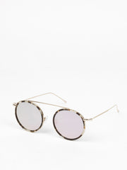 Illesteva / Kingston / White Tortoise / Gold With Rose Flat Mirrored Lenses - I Visionari