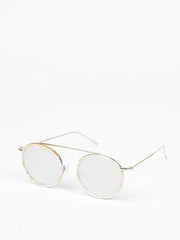 Illesteva / Kingston / Cream Marble / Gold With Silver Flat Mirrored Lenses
