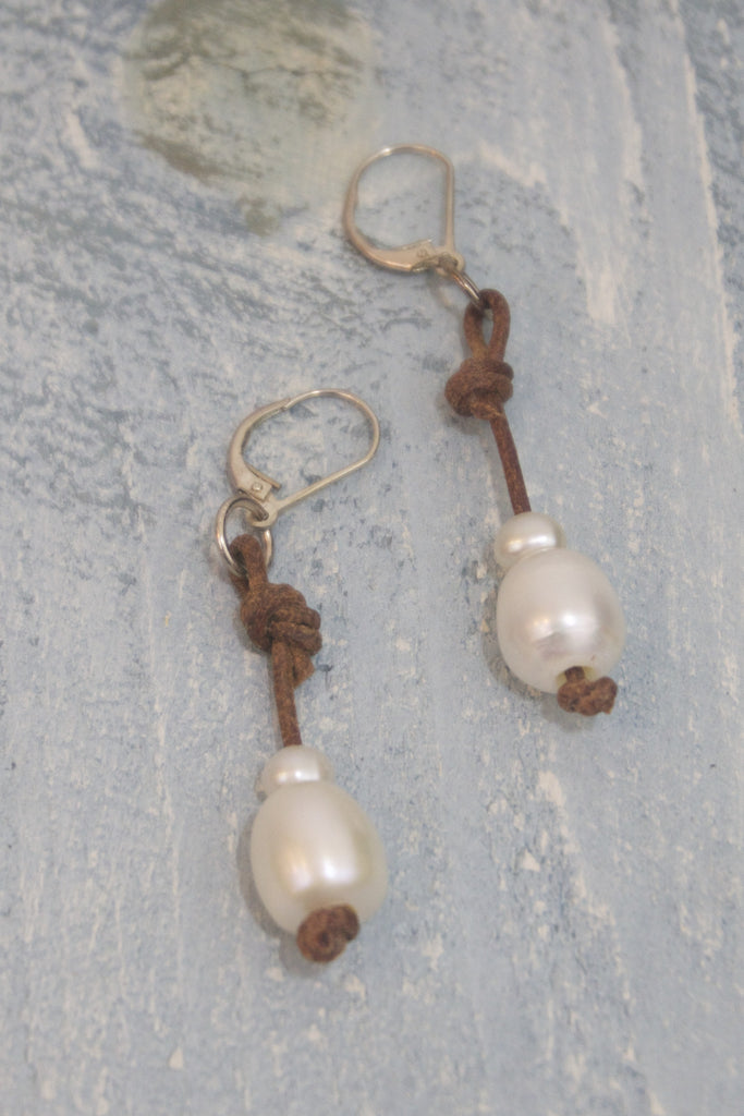 Tiny Bubbles Earrings | Allison Craft Designs Pearl and Leather