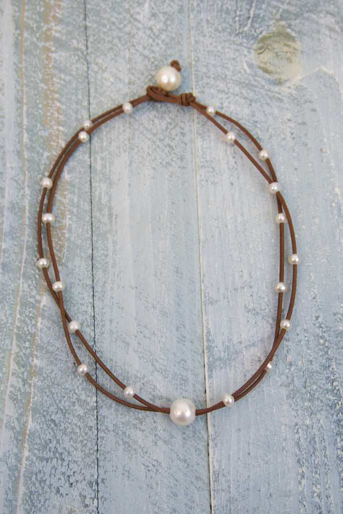 Tiny Bubbles Solitaire Necklace | Allison Craft Designs Pearl and Leather