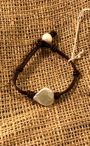 Island Treasure Bracelet | Allison Craft Designs Pearl and Leather