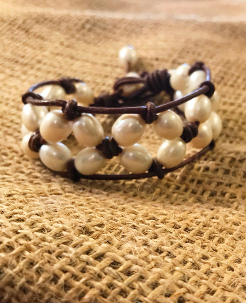 Beach Dreams Bracelet | Allison Craft Designs Pearl and Leather