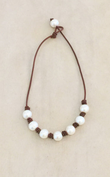 The New Classic Pearl Necklace | Allison Craft Designs Pearl and Leather
