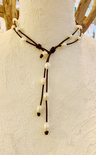 Savannah's Song Necklace | Allison Craft Designs Pearl and Leather