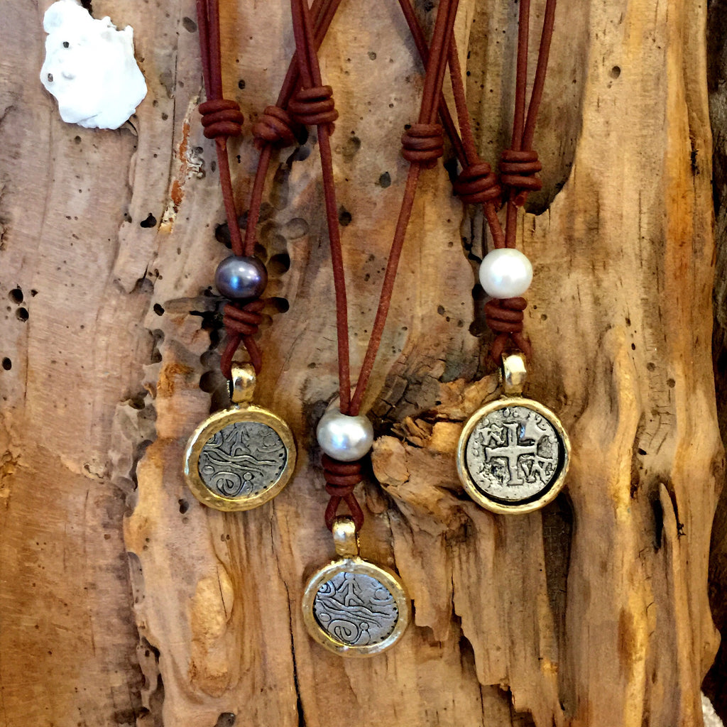 Shipwrecked Necklace | Allison Craft Designs Pearl and Leather