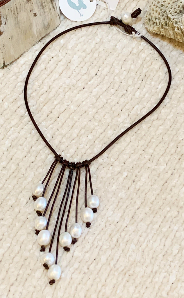 Pearl Cascade Necklace | Allison Craft Designs Pearl and Leather