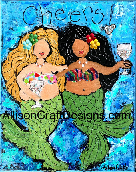 Cheers Mermaids Print with Mat
