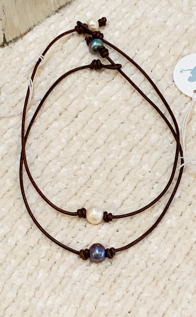 Shooting Star Necklace | Allison Craft Designs Pearl and Leather