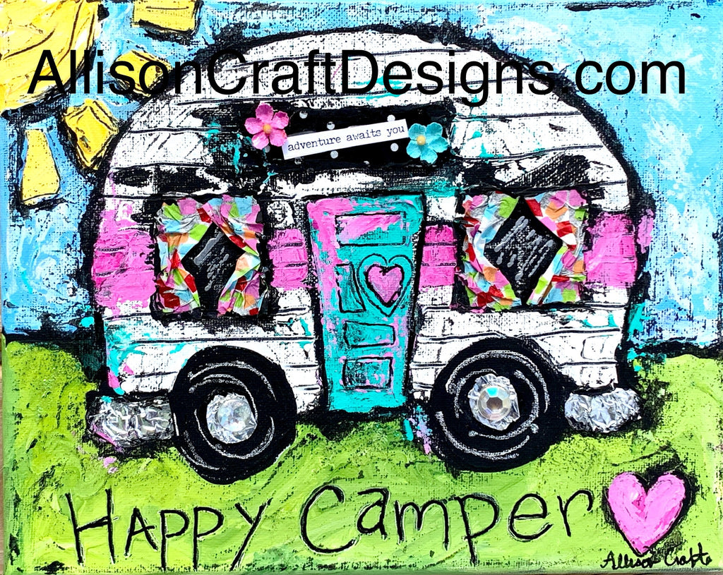 Happy Camper Print and Mat | Allison Craft Designs Pearl and Leather