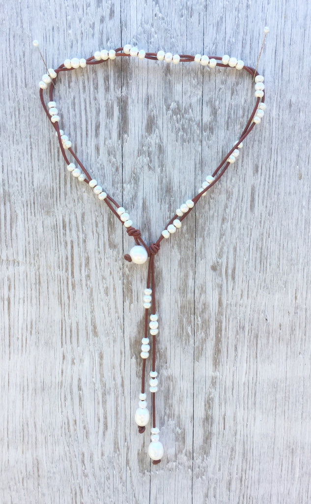 Savanna's Song Necklce | Allison Craft Designs Pearl and Leather