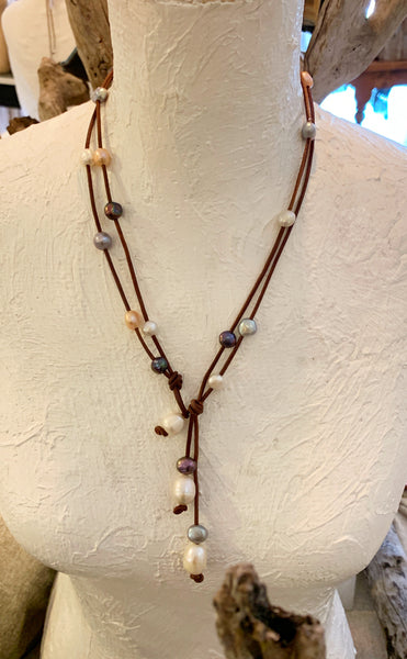 Grayton Savanna Necklace | Allison Craft Designs Pearl and Leather
