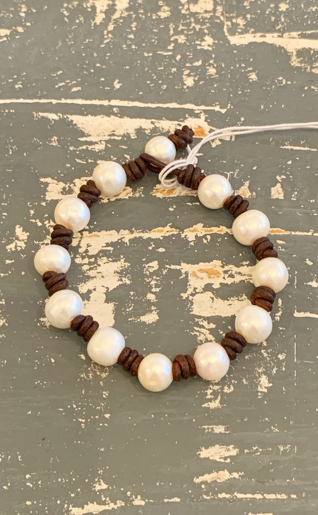 Ring of Pearls Bracelet | Allison Craft Designs Pearl and Leather