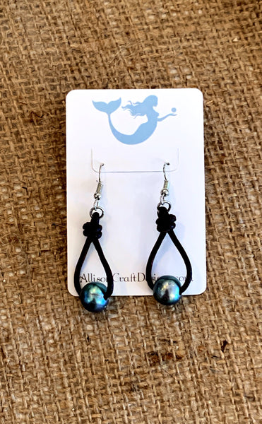 Drops From Heaven Earrings | Allison Craft Designs Pearl and Leather
