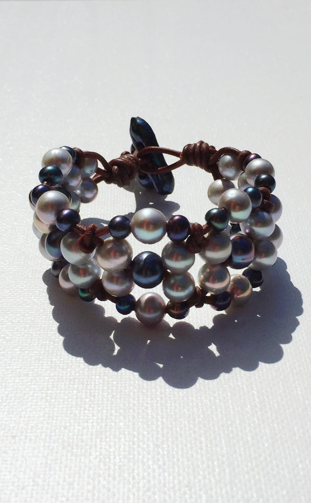 Silver Seas Signature Bracelet | Allison Craft Designs Pearl and Leather