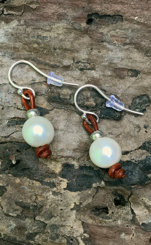 Moonbeam Earrings | Allison Craft Designs Pearl and Leather