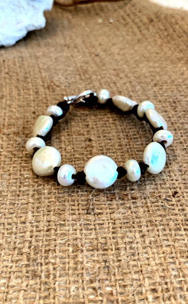 Sonata Bracelet | Allison Craft Designs Pearl and Leather