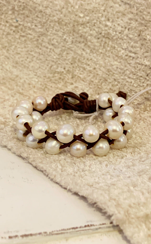 Key West Breezes Bracelet | Allison Craft Designs Pearl and Leather