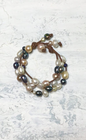 Calypso's Dream Bracelet | Allison Craft Designs Pearl and Leather