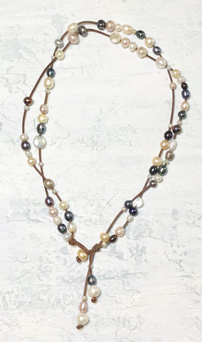 Calipso's Dream Necklace | Allison Craft Designs Pearl and Leather