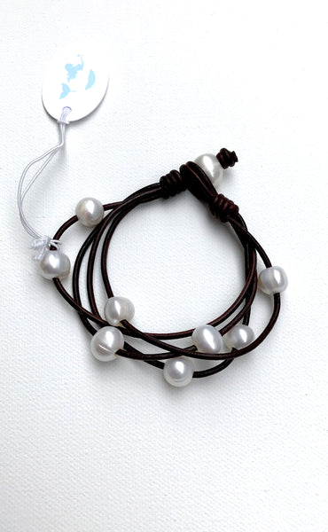 Pearl Party Bracelet | Allison Craft Designs Pearl and Leather