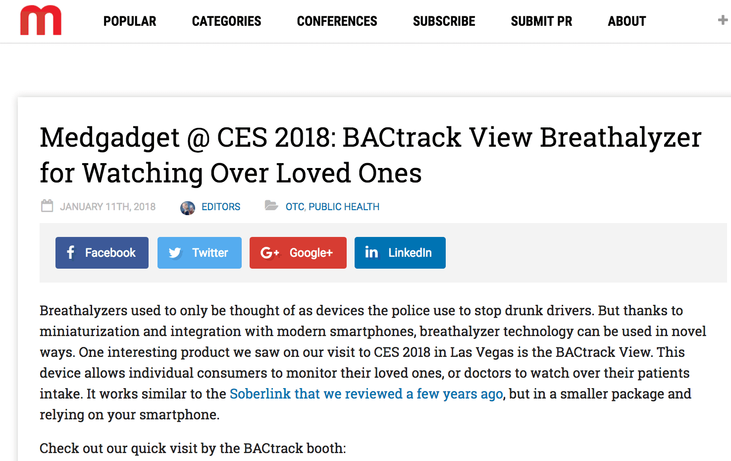BACtrack View featured on MedGadget