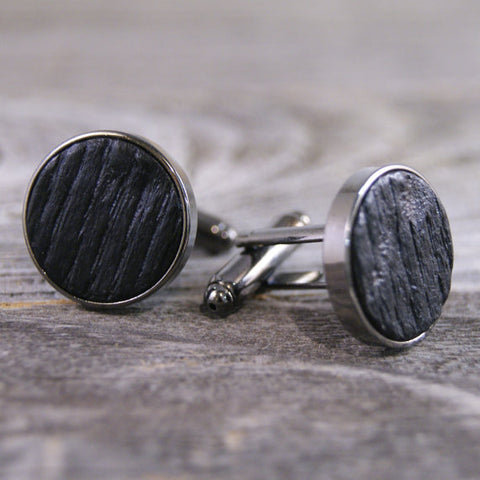 Cufflinks Crafted from Bourbon Barrels