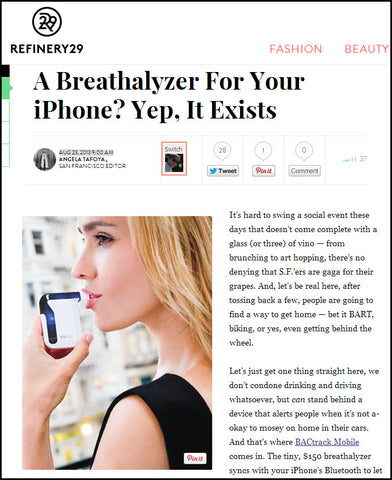 BACtrack Mobile in Refinery29