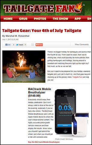 Tailgate Fan features BACtrack Mobile Breathalyzer