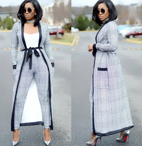 Striped Wide-Legged Pants with Long Coat 3 Piece Bazin Suit Big Elastic For Lady - Gurdeep Singh Cheema