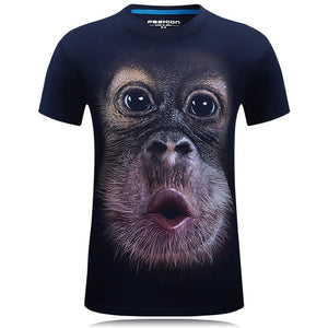 Men's animal T-Shirt orangutan/gas monkey/Wolf 3D Printed T-Shirts Men Funny tees tops tee shirt large size - Gurdeep Singh Cheema's Online Store India & abroad