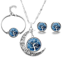 Load image into Gallery viewer, SIAN Fashion Tree of Life Jewelry Sets Silver Plated Wisdom Life Tree Necklace Earrings Bracelet Art Glass Jewellery Handicrafts