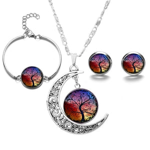 SIAN Fashion Tree of Life Jewelry Sets Silver Plated Wisdom Life Tree Necklace Earrings Bracelet Art Glass Jewellery Handicrafts