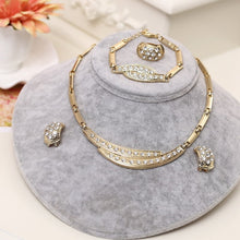 Load image into Gallery viewer, Dubai Gold Jewelry Sets Nigerian Wedding African Beads Crystal Bridal Jewellery Set Rhinestone Ethiopian Jewelry parure