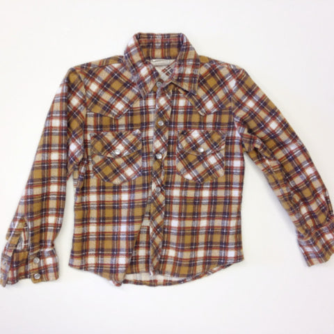 Brown Western Snap Button Flannel Shirt