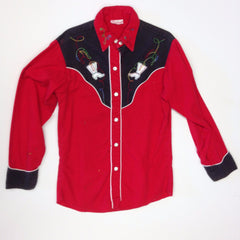 Girls Red and Black Western Shirt