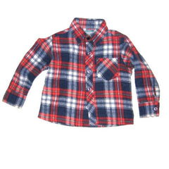 Blue and red flannel shirt
