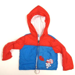 Blue and red windbreaker