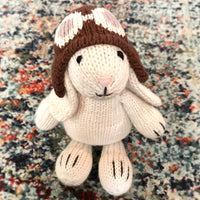 Aviator Bunny ready for baby's Easter basket. Hand-knit, ethically made with love.