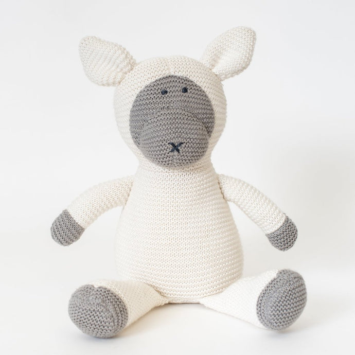 Hello Lambie . organic cotton knit lamb - 0 to 12 mos