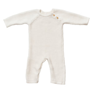 Picture Day! organic cotton classic knit romper - soft white