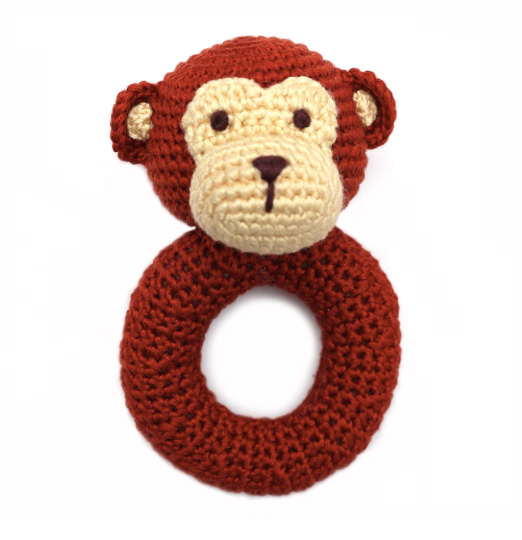 Max the Monkey - hand crocheted rattle