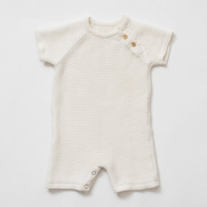 Picture Day - shortie version! organic cotton classic knit romper - soft white