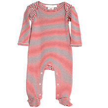 Load image into Gallery viewer, Striped footie . cinnamon & ecru. organic cotton