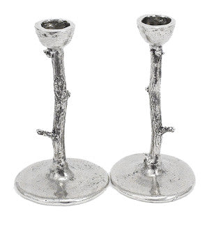Pewter Branch Candlesticks