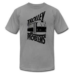 Trolley Problems: Ethics T-Shirt - slate