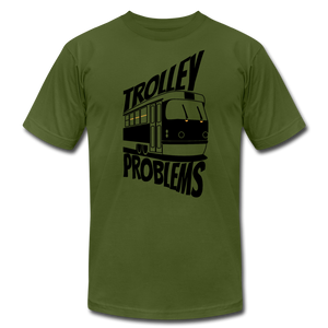 Trolley Problems: Ethics T-Shirt - olive